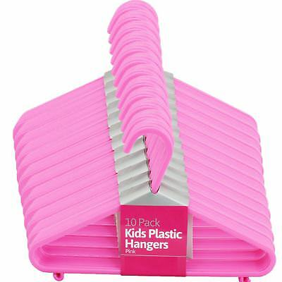New 20Pcs Kids Plastic Hangers Pink Clothes Storage Shirts Trousers Home