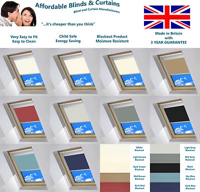 Blackout Blinds Designed To Fit VELUX® Skylights -ALL Codes Available 10 Colours
