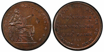 GR BRITAIN Midx. 1795 CU Farthing Token. PCGS MS64BN ADVOCATES...RIGHTS OF MAN