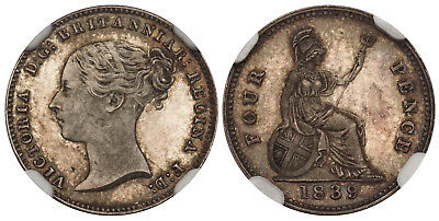 GR BRITAIN Victoria 1839 AR Fourpence, Groat. NGC PR64 SCBC-3913. Toned nicely