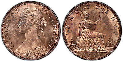 GR BRITAIN Victoria 1873 AE Farthing. PCGS MS64RD SCBC-3958 (Low 3 in date).