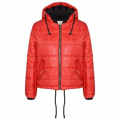 Girls Jacket Kids Bella High Shine Red Hooded Padded Quilted Puffer Jackets 5-13