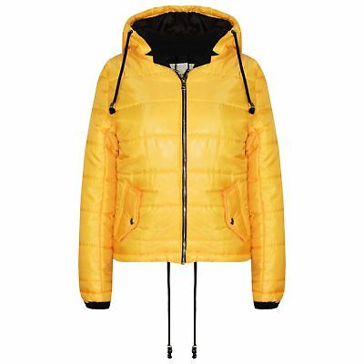 Girls Jacket Kids Bella High Shine Mustard Hooded Padded Quilted Puffer Jackets