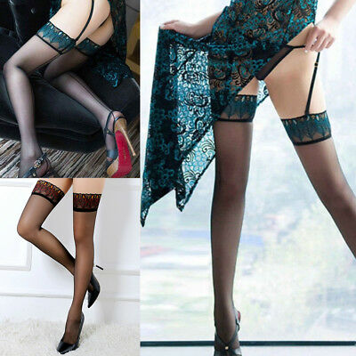 Sexy Women Lace Top Stay Up Stockings Thigh High Pantyhose Hold-up Socks US SHIP