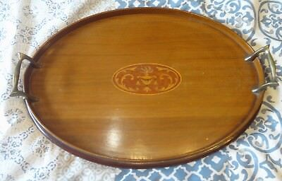 Antique English Inlaid Mahogany & Brass Serving Butler Tray