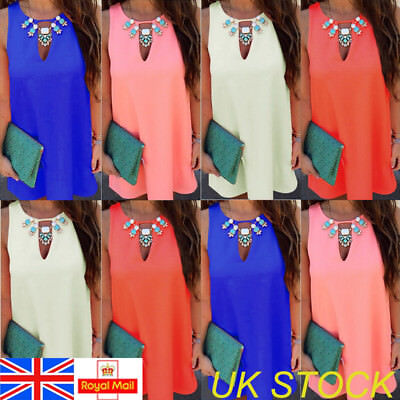 UK Womens Chiffon Sleeveless Summer Casual Dress Ladies Loose Sundress Plus Size
