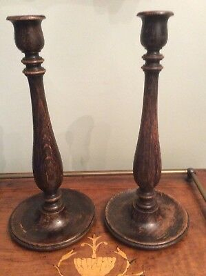 Pair Of Antique Oak Turned Candlesticks