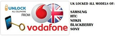 UK VODAFONE SAMSUNG, NOKIA, SONY, BLACKBERRY, HTC all models UNLOCK CODE