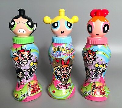 Rare POWERPUFF GIRLS BellyWashers Drink Bottles 1st Edition 2000 In Zone Brands