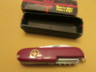 """Multi Tool Swiss Army Style Knife - stainless steel made in China Red 3 1/2"""""""