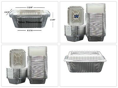 Disposable Takeout Pans Aluminum Foil Food Containers w/ Clear Lid 1 LB 100 Pack