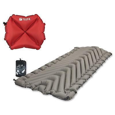 Klymit Static V Luxe Gray Sleeping Pad Travel Mat, w/ Pillow X, Red