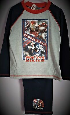 Marvel Captain America Civil War Pyjamas Iron Man Boys Pjs Pyjama Set T2TC367