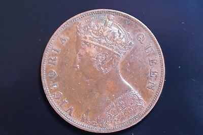 Hong Kong Queen Victoria Large One Cent dated 1875 Very Scarce Low Mintage