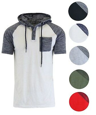 Men's Short Sleeve Henley Hoodie Chest Pocket Marled Buttons T-Shirt Tee S-2XL