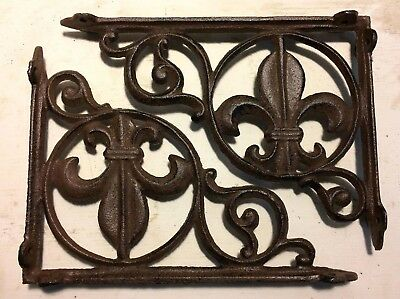 SET OF 2 FLEUR DE LIS SHELF BRACKET BRACE, Antique Brown Finish cast iron