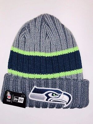 SEATTLE SEAHAWKS TEAM NFL Beanie Knit Hat winter Cap Cuffed Pom New ... 509e947200f0