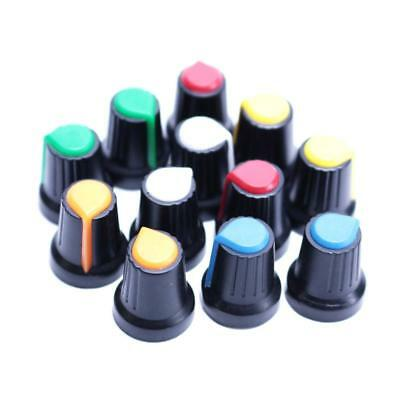 12pcs Plastic Hi-Fi CD Volume Tone Control Potentiometer Knob 6mm *6 COLORS*