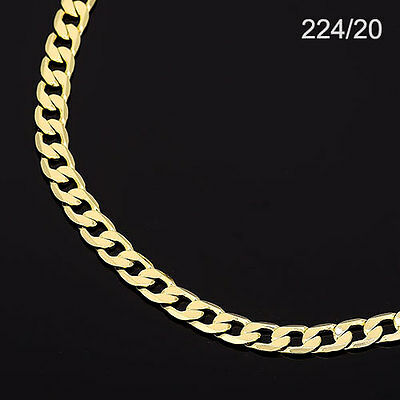 Men's 14K Yellow Gold Plated 20 Inches Cuban Link Chain Necklace 6 mm    224/20