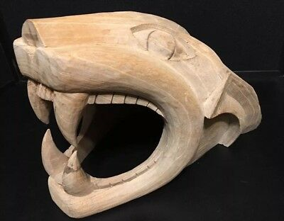 Wooden Carved Nittany Lion Wild Cat Cougar Mountain Lion Head Football Tailgate