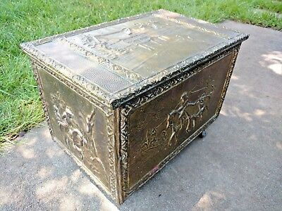 Antique Embossed Brass on Wood Repousse Box Scuttle Trunk Chest Hod w/ Horses