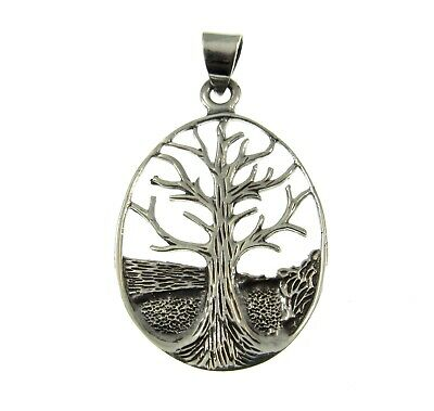 Handcrafted 925 Sterling Silver Etched Celtic Knot Tree of Life Pendant