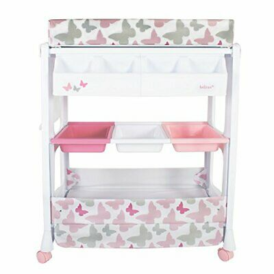 Baby Infant Changing Table Unit Rolling Bath Station Storage Trays 5060348503774