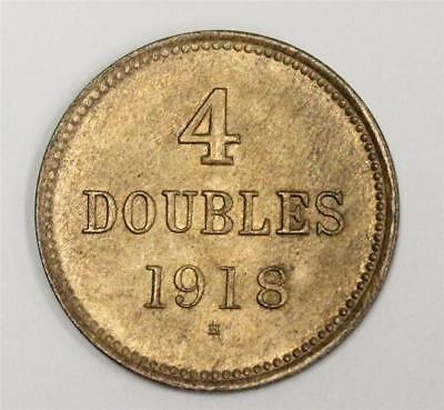 Guernsey 4 Doubles 1918 H choice uncirculated MS63