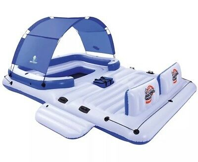 Inflatable Floating Island Lounger Boat Beach Pool Sea Sun Tent Water Famil Fun