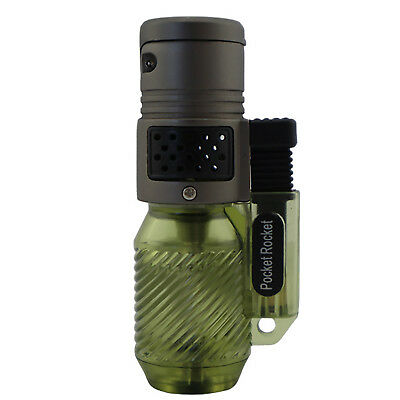 Pocket Rocket Single Jet Flame Butane Cigarette Cigar Torch Lighter - Green