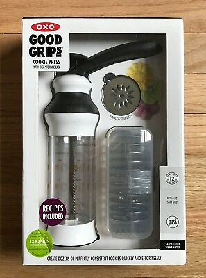 New Oxo Cookie Press Good Grips With Disk Storage Case Recipes Bpa Free! Nib!