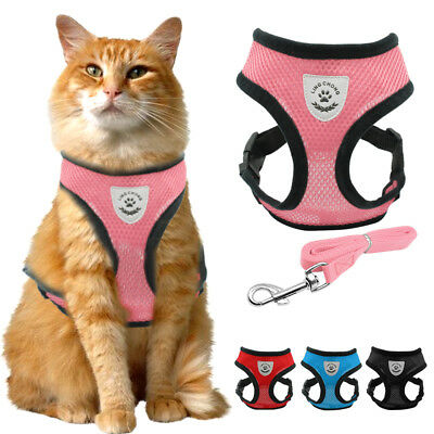 Safety Air Mesh Fabric Cat Harness and Leash Set Kitten Walking Jacket Pink Blue