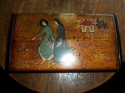 Vintage Asian Lacquer Box Jewelry Trinket Chinese Japanese Ladies