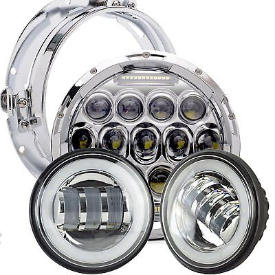 "For Harley Touring Road King FLHR 7"" LED Daymaker Headlight + Passing Fog Lights"