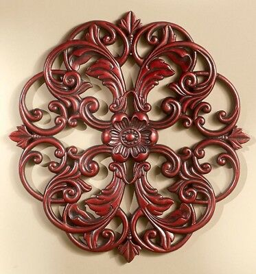 Carved Wood Look Medallion Wall Hanging Decor Mahogany NEW
