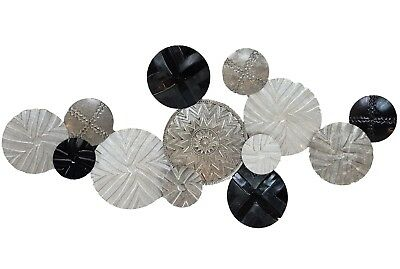 Abstract Metal Wall Art Circles Black White Hanging Sculpture Home Décor *135 cm