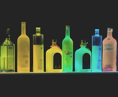 "Lot of 3 each 36"" LIQUOR BOTTLE DISPLAY, SHOT GLASS BAR SHELF COLORED LED LIGHTS"