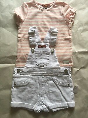 7 For All Mankind Girls Pink White Two Piece Set Size 2T