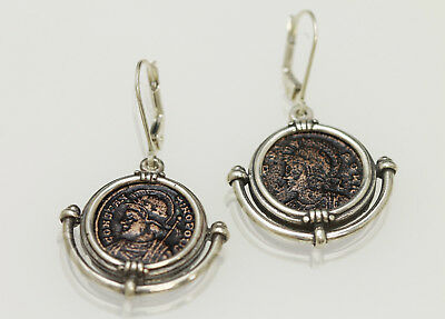 Sterling Silver Earrings, Genuine Ancient Roman Coins. w/Cert. - 012