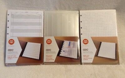 Lot 3 NEW Staples Arc Junior Notebook Packs ~ Card Holders, To Do, Graph Paper