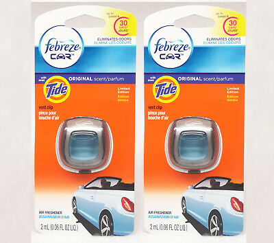 2 Febreze with Tide Original Scent Car Air Freshener Eliminates Odors .06 fl oz