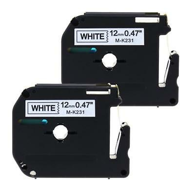 Compatible for Brother P-touch M-K231 MK231 Lable Tape Black on White 12mm 2pk