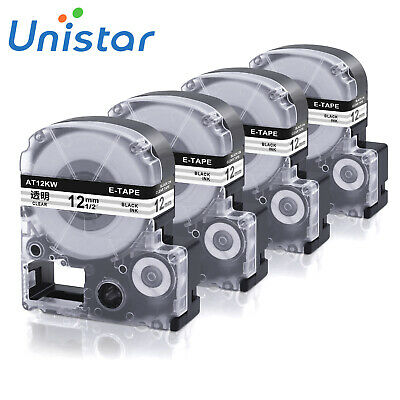 4PK Compatible with EPSON LC-4WBTN9 ST12KW Label Tape Black on Clear 12mm LW400
