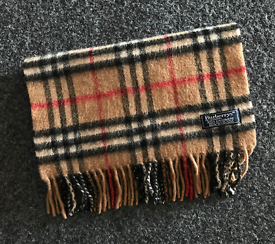 Auth BURBERRY London Classic 100% Cashmere scarf Made in England Beautiful 054