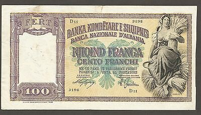 Albania 100 Franga N.D. (1940); VF; P-8; S/B706; Italian Occupation; WWII issue