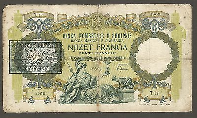 Albania 20 Franga (1945); G+; P-13; S/B-112; Provisional issue; End of WWII