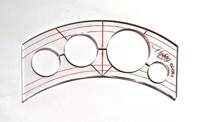 Quilting Template  Inside Out Curve + 4 Mini Circles  3mm Thick