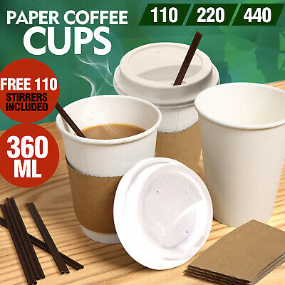 110x Disposable White Paper Coffee Cups 360ML/12oz Takeaway Hot/Cold Coffee Tea