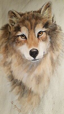 Wolf Painting On Leather Native South West Original Art Turquise Beads Feather