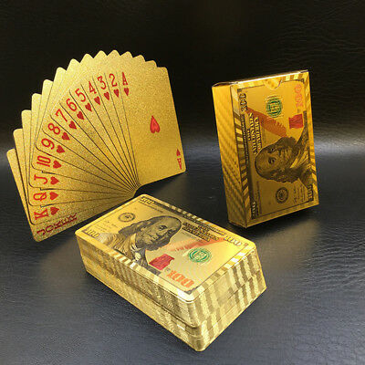 Waterproof 24K Gold Foil Poker 54 Playing Cards For Table Game Party Supply Gift